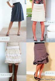 Skirt tutorials  I like the bottom two, but probably the grey is cut better for my booty
