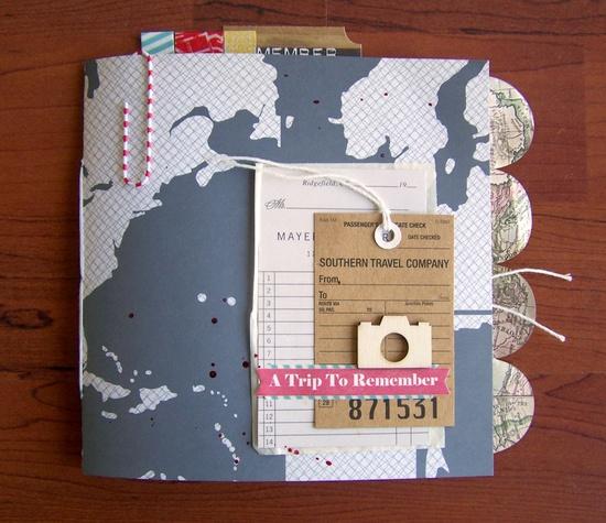 Travel Mini Album #scrapbook #journal #maps #tabs