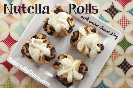Tutorial - Nutella Rolls with Cream Cheese Icing: these could not be easier!  Take Pillsbury Grands Biscuits & gently roll each biscuit out on floured/sugared surface. Spread 1 - 2 Tbs. Nutella on each & roll it up. Cut into 3 pieces & place in greased muffin pan. Bake 15 mins at 350. Cool slightly, then ice with mixture of 4oz Cream Cheese (softened) + 1 tsp Vanilla + 1 1/2 cups Powdered Sugar.  Enjoy!