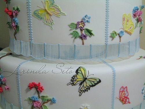 Detail - Butterfly Garden Wedding Cake