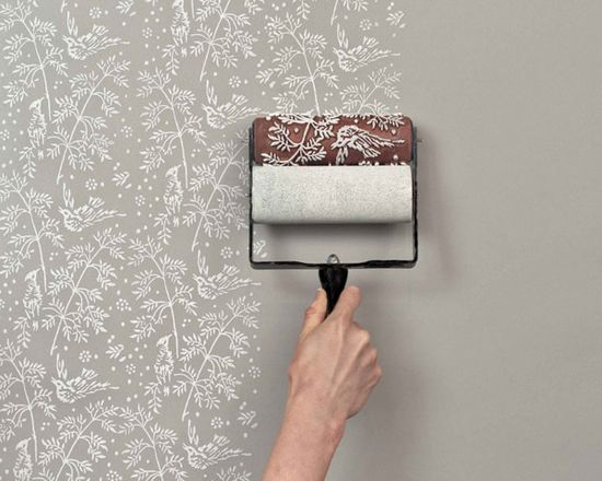 patterned paint rollers instead of wallpaper. LOVE this