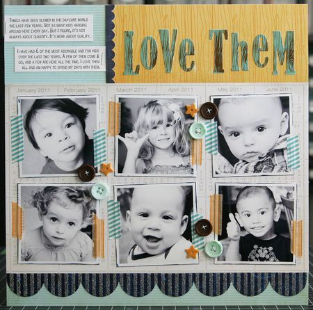 Adorable multi-photo layout and great use of Bella Blvd's Designer Tapes. Created by Laura Vegas.