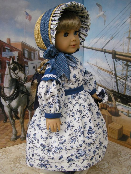 American Girl doll clothes  mid1800s day dress bonnet by dolltimes