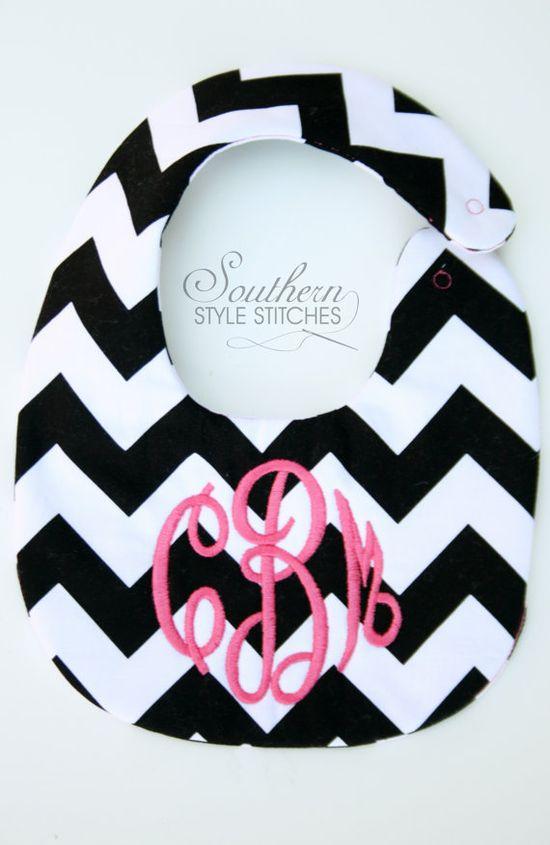 Personalized bib Monogrammed bib Baby by SouthernStyleStitche, $12.00