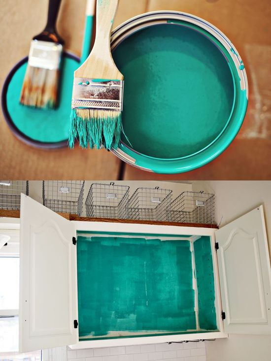 Painting the inside of cabinets a bold color!