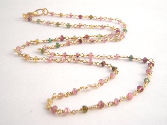Rainbow Tourmaline Necklace  14k Gold  by BellaBeadsOriginals, $80.00