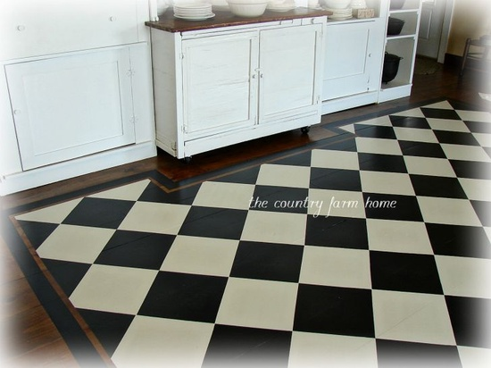 The Country Farm Home: Ta-Dah. . . .The Checkerboard Floor Is Done. . .