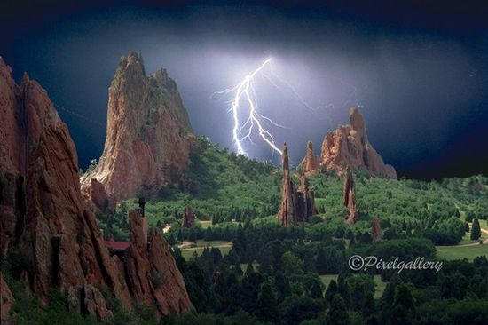 Colorado  Lightning Strikes the Garden of the Gods - Colorado Springs, Colorado