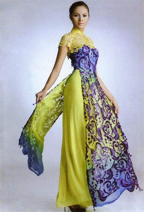 ao dai I'd like less yellow green, more grey-blue-silver. Love the #ao dai