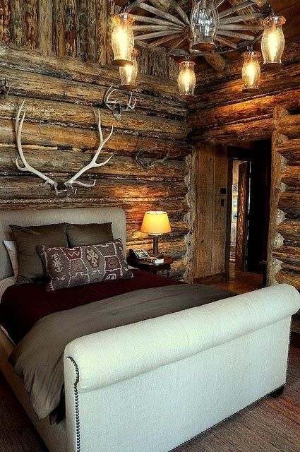 Mountain cabin bedroom - a lot of rustic and a little contemporary with the bed #home interior #living room design #home decorating before and after #interior decorating #room designs