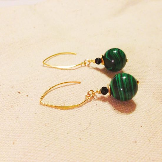 Green Malachite Earrings Gold Jewelry Black by jewelrybycarmal, $27.00