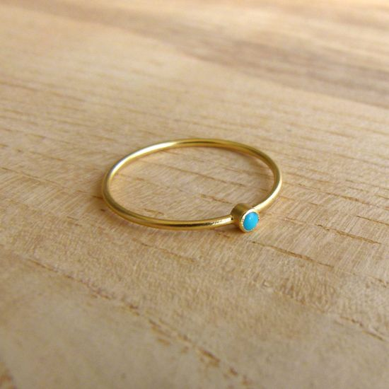 Thin Gold Ring Delicate Gold Rings Gemstone Ring by artemer