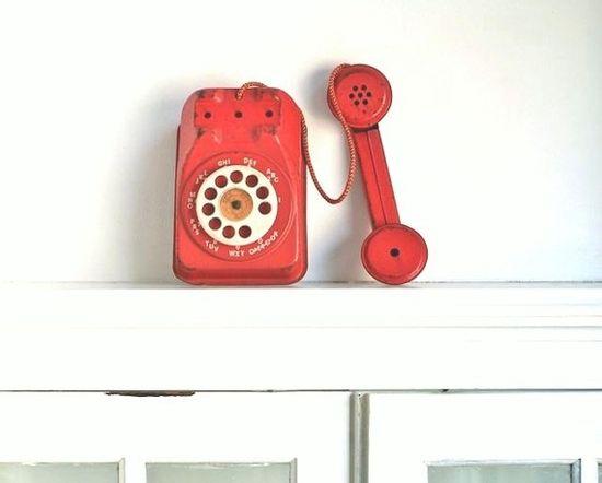vintage toy telephone.
