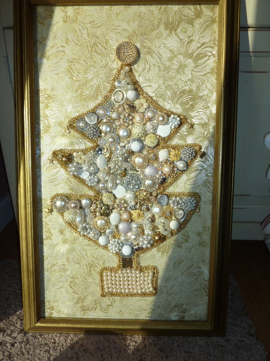 Beautiful Glitzy Framed Christmas Jewelry Tree 1950s Earrings Pearls, Crystals, Rhinestones, Gold Newly Assembled. $211.00, via Etsy.