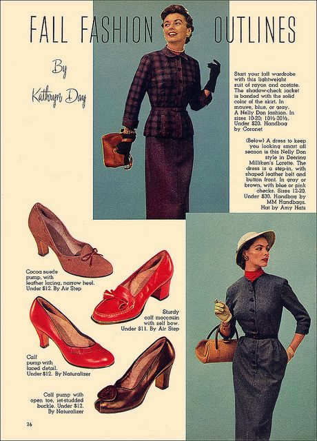 Fall Fashion Outlines, 1953 featuring four lovely autumn shoe styles. #vintage #1950s #shoes
