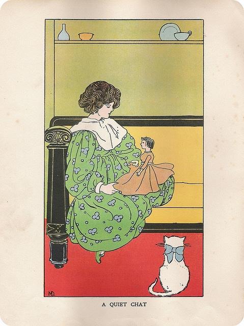 Vintage illustration - A quiet cat