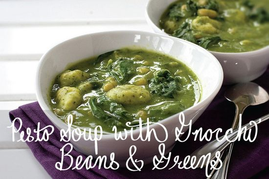 Pesto Soup With Gnocchi, Beans & Greens