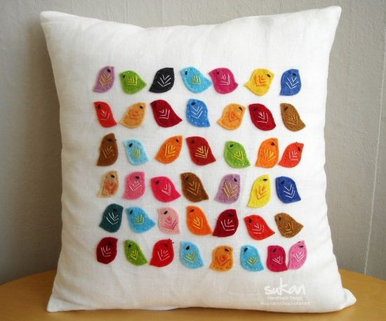 Birds Linen Pillow Cover