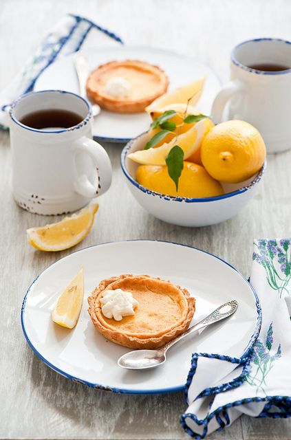 Rustically lovely, zingy Lemon Tarts. #tarts #pie #fruit #lemon #yellow #food #dessert