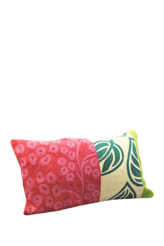 Crewel Work Lumbar Pillow with Leaf Design