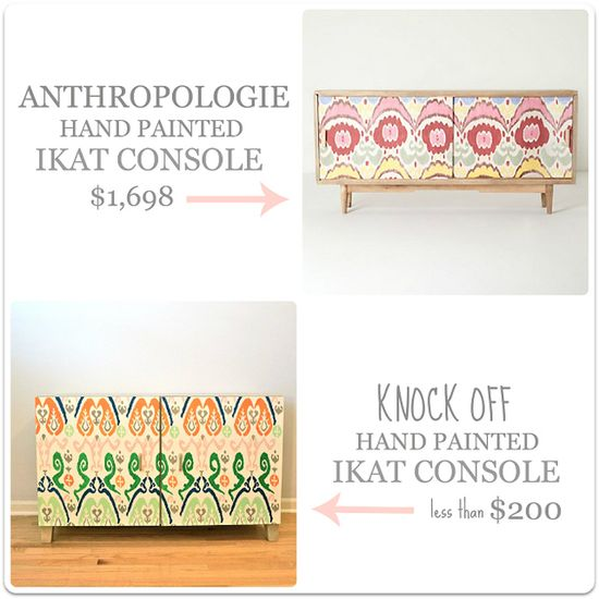 This Anthro-inspired ikat console can be easily DIYed with a piece from IKEA.