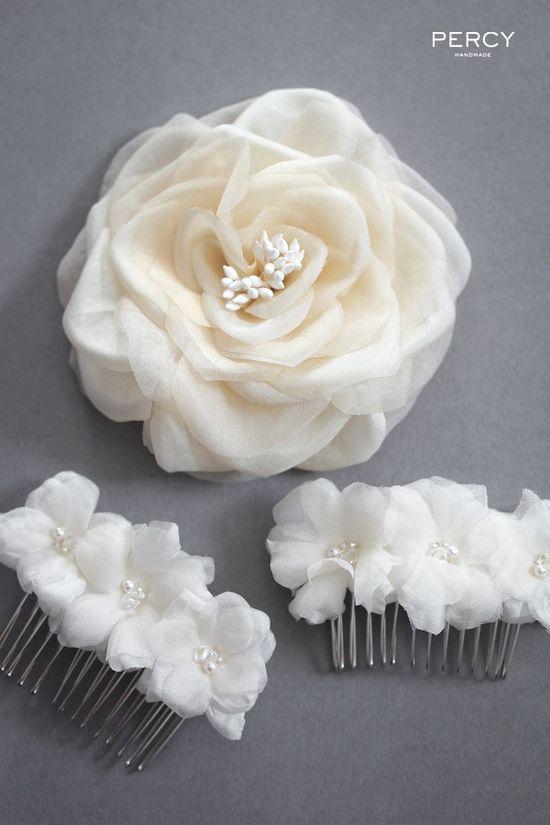 Bespoke silk flower hair accessories by Percy Handmade