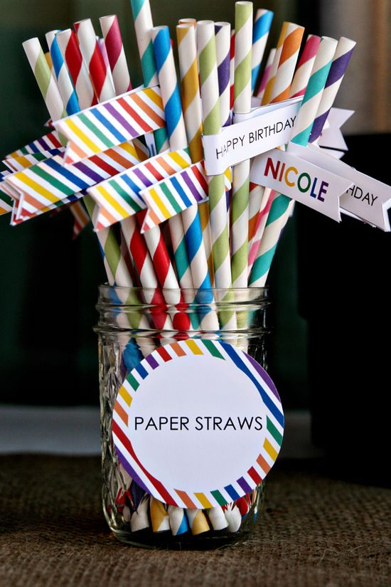 How cute are these straws at a Rainbow Breakfast Party found via Kara's Party Ideas?
