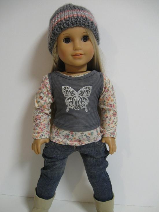 American Girl Doll -Grey Butterflies. $, via Etsy.