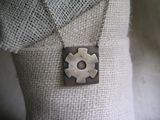 Cog  wheel Pendant by OxleyandMortimer on Etsy, $72.00
