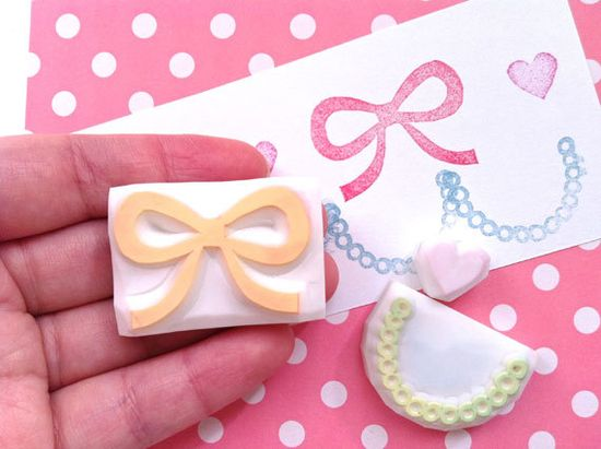 GIRLIE rubber stamps. hand carved rubber stamp  by talktothesun, $16.00