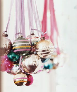 DIY Ornament Chandelier by Real Simple: A nice option for a Christmas tree!