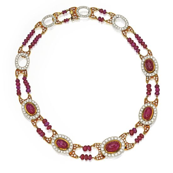 18 Karat Two-Color Gold, Ruby and Diamond Necklace - Sotheby's
