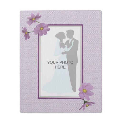 Purple Cosmos Wedding Photo Plaque