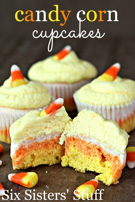 Candy Corn Cupcakes Recipe on MyRecipeMagic.com #cupcakes #candy #corn