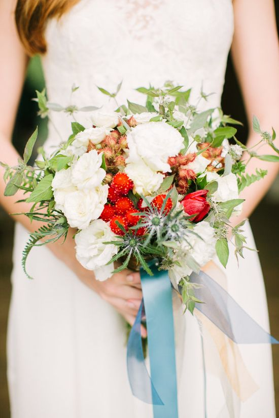 red + white bouquet with blue ribbon // photo by Julie Lim Photographer // floral design by Mobtown Florals