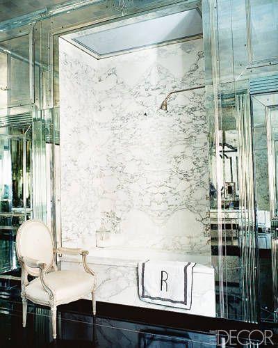 Miles Redd mirrored bathroom via Elle Decor