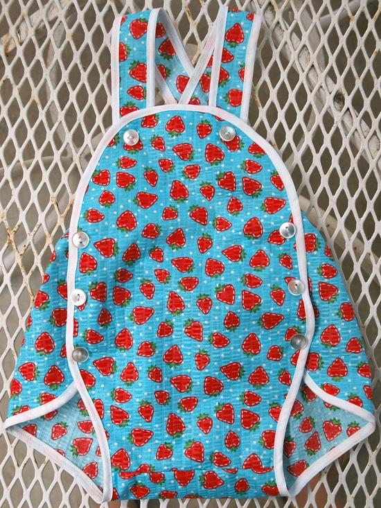 Vintage Style Baby Jumper - blue strawberry. $25.00, via Etsy.