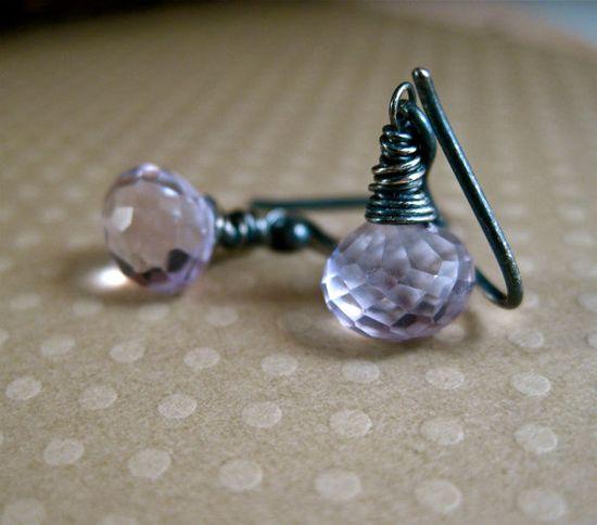 Purple Amethyst Earrings Little Gemstone Drop Earrings by amyfine,