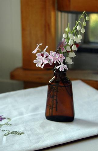 flowers in a bottle.  nice.