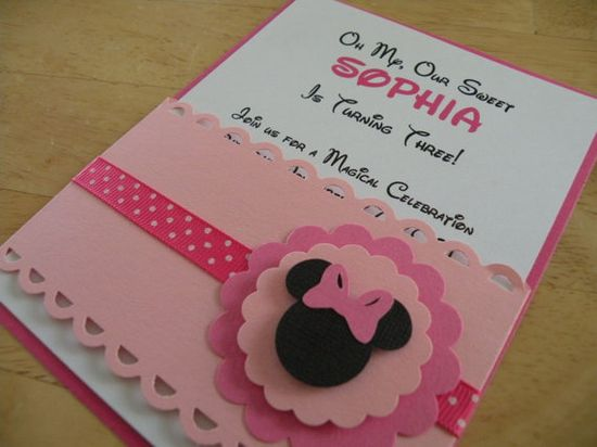 Minnie Mouse Inspired  Handmade Invitation by MommyMimasCreations, $2.55