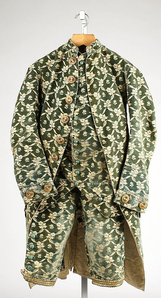 While living (and playing) in France, Sheffield might well have indulged in a fashionable silk suit (jacket, waistcoat, & breeches) like this from the Parisian tailors. Man's suit, French, 1760-80. Metropolitan Museum of Art.