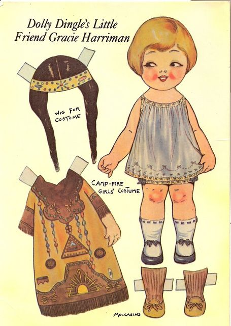 postcard - paper doll