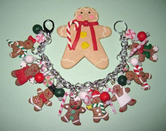 Christmas Jewelry Charm Bracelet Gingerbread Man Cookies by Jynxx, $35.00