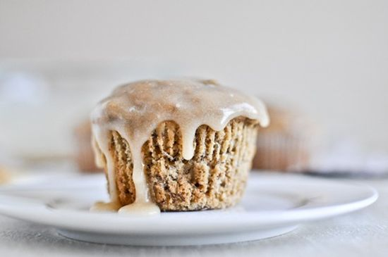 Whole wheat banana spice muffins with brown butter glaze from  How Sweet It Is