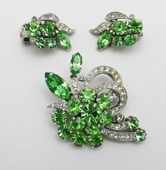 Vintage Eisenberg Ice Brooch and Earrings Green. $79.00, via Etsy.