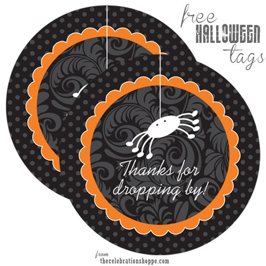 """free Halloween favor tags, """"thanks for dropping in"""""""
