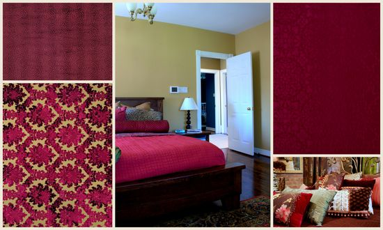 Interior decorating inspirations in color Garnet Red.
