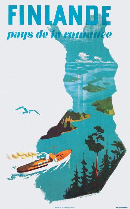 Finland vintage travel poster