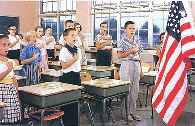 Saying the Pledge of Allegiance and the morning prayer at the start of the school day.