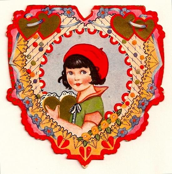 valentine, circa 1920-cute red cap